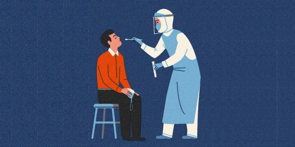 illustration of person being tested for COVID-19