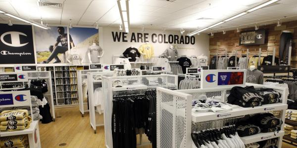 Merchandise displays at the CU Bookstore