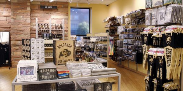 Photos of the interior of the CU Bookstore, located in the University Memorial Center. (Photo by Circe Baumgartner/University of Colorado)