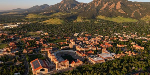 Early morning aerial of CU Boulder