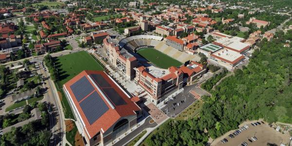 Aerial of Athletics buildings with solar panels