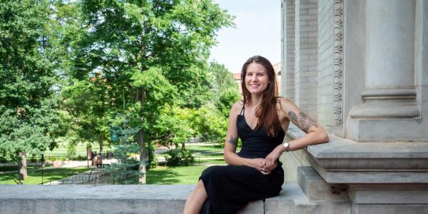 Amy Linhoff on campus
