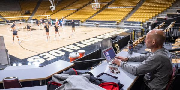 Technical coordinator for women's volleyball at CU Boulder Eduardo Fiallos