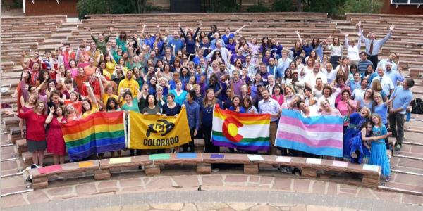 CU community forms a human rainbow