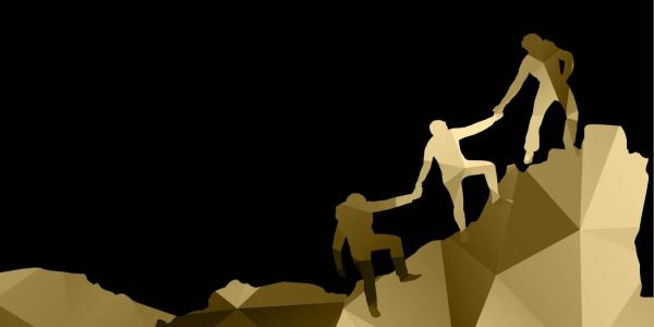 Illustration of people helping each other climb up a mountain