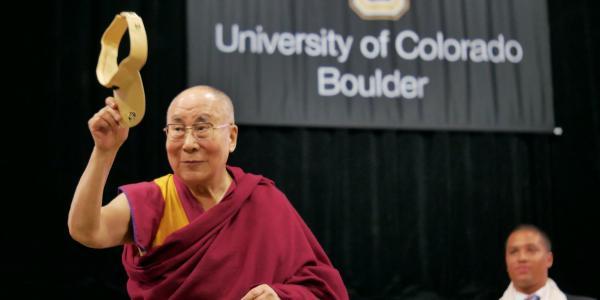 His Holiness the Dalai Lama speaking at CU Boulder in 2016