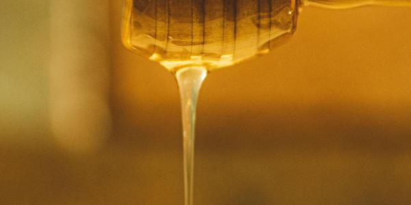 Stock photo showing honey dripping