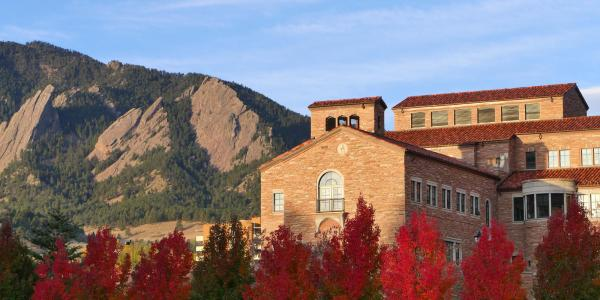A stock image of the CU Boulder campus and Flatirons