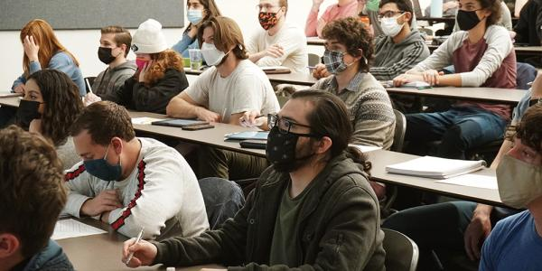 Students in classroom wearing wasks