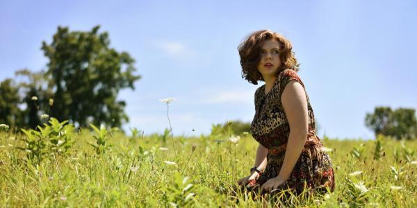 Hannah Richardson in a field