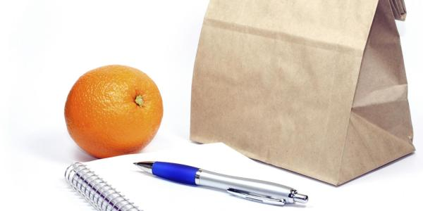 Brown-bag lunch with pen, orange