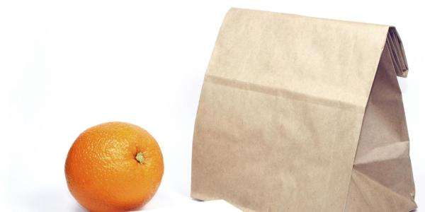 Bagged lunch and orange.