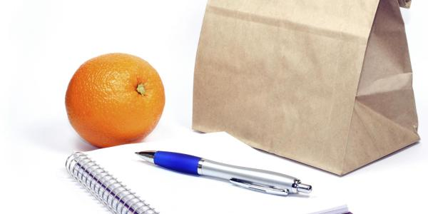 Brown bag lunch, notebook and pen, and an orange