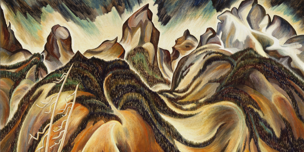 A colorful depiction of the Tetons in different shades of brown front of blue water, by artist Eve Drewelowe.