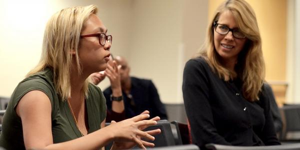 2015-16 Faculty Fellow Beth Osnes, right, is an associateprofessor and director of graduate studies in theatre.