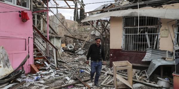Houses, allegedly destroyed by shelling, in Ganja, Nagorno Karabakh