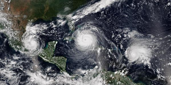 Hurricanes Katia, Irma and Jose on Sept. 8, 2017.