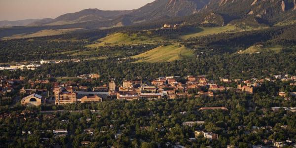 Aerial shot of CU Boulder campus