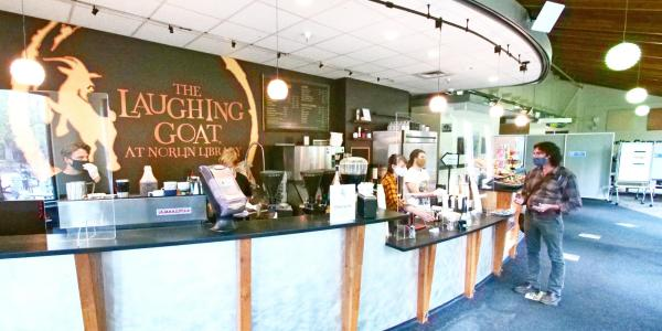 students get coffee at Laughing Goat in Norlin Library