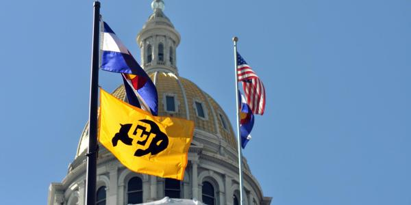 Flags at Colorado state capitol