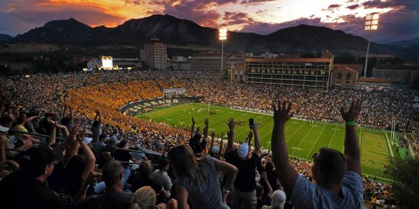 A football game at Folsom Field