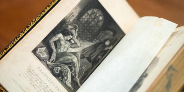 Photo of illustration in Frankenstein book