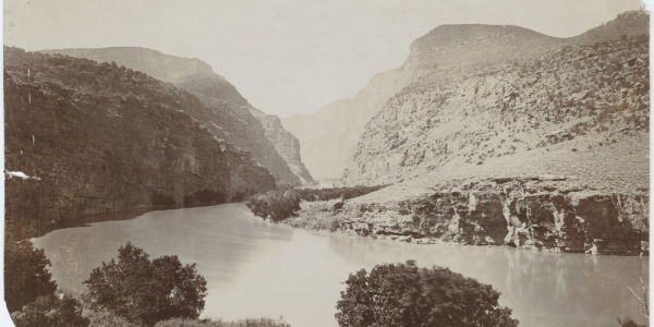 Antique, sepia-tone photo of Colorado River