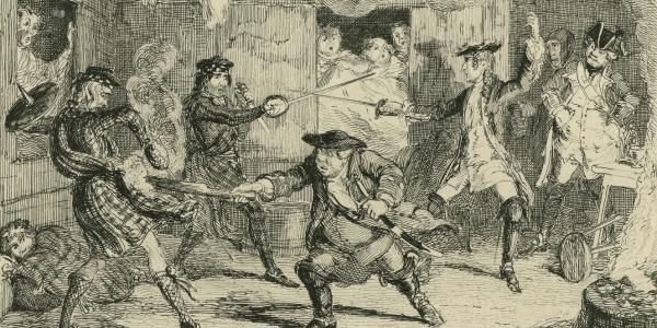 Engraving by George Cruikshank of a scene from Rob Roy. (Walter Scott Image Collection, Edinburgh University; CC BY 2.0.)