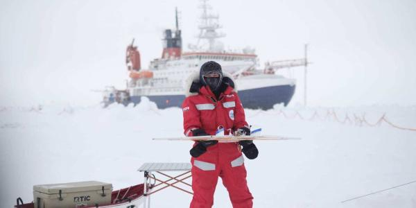 A researcher seen on the MOSAIC expedition in the Arctic