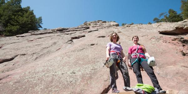 Co-founders of Girls on Rock getting ready to climb the first Flatiron