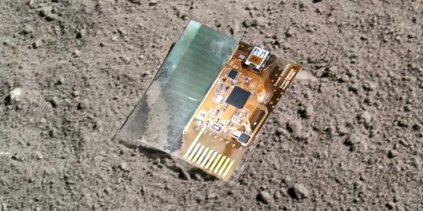A mock-up of what a LunaSat might look like on the moon