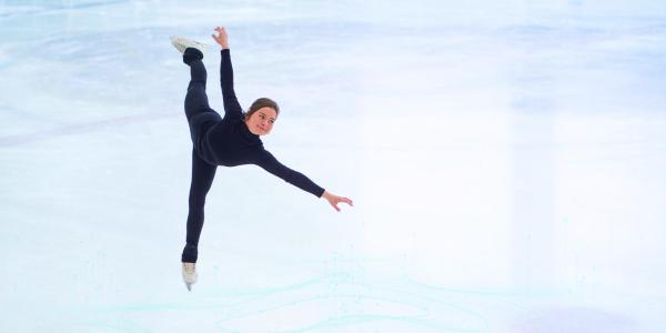 An illustration of Joy Weinberg ice skating, imposed over a data map