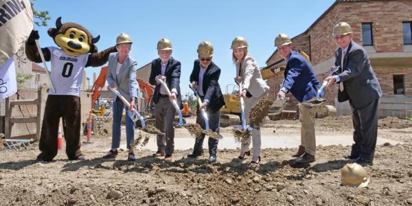 Campus leaders break ground at business-engineering building expansion site