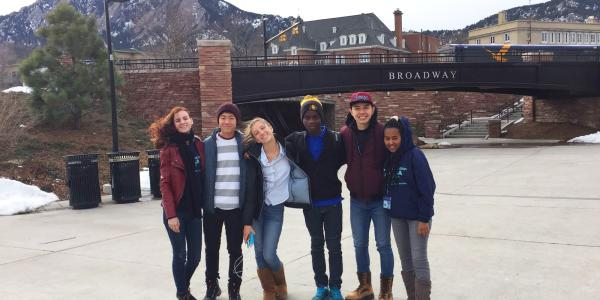 EducationUSA Academy group at the Broadway pedestrian underpass on campus