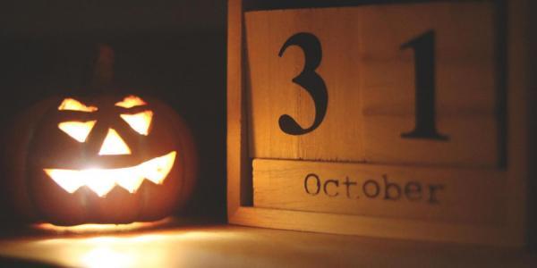 Jack-o-lantern and calendar marked Oct. 31