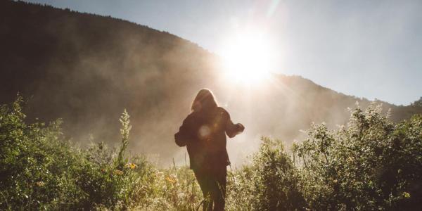 person walking in wilderness