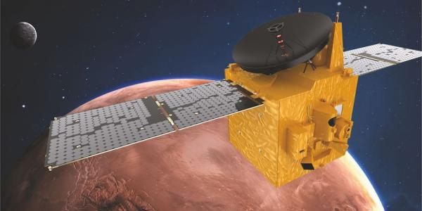 A rendering of the Hope spacecraft in orbit around Mars