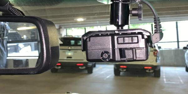 Photo of in-car cameras installed in CUPD fleet vehicles