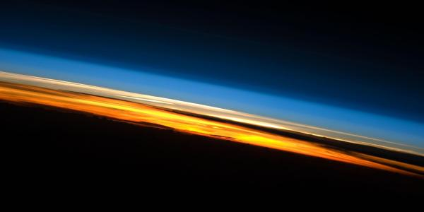 A sunset photo taken from the International Space Station, showing several layers of Earth's atmosphere. (Image credit: NASA Johnson Space Center)