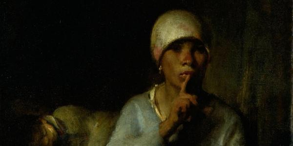 Woman of color holds finger over mouth in painting