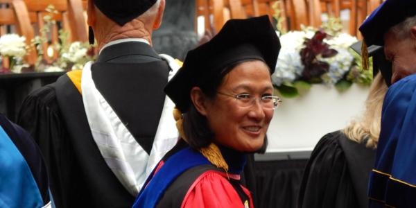 Jennifer Ho participating in the inauguration of Chancellor Carol Folt at UNC Chapel Hill in October 2014 (Photo provided)