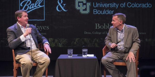 John Hayes and Bobby Braun at a fireside chat