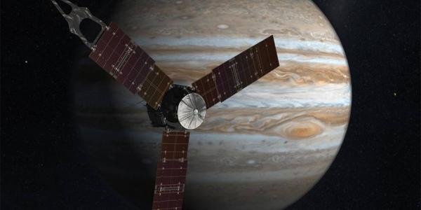 Juno artist rendering with planet in background