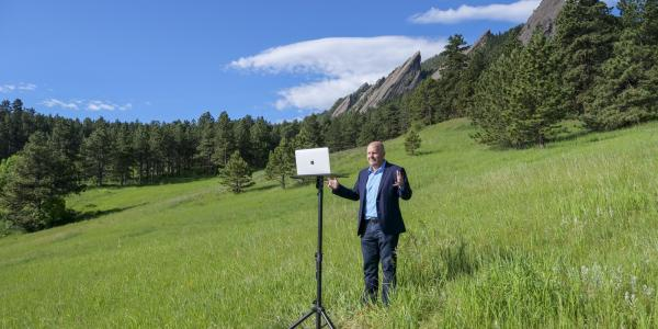 Kent Hutchison records a course in Boulder's Chautauqua Park