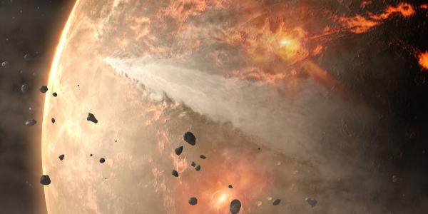 An artist's depiction of an early Earth bombarded by asteroids.