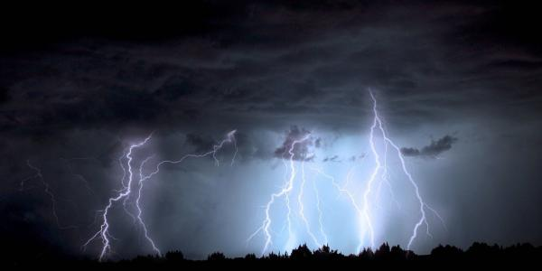 Lightning strikes during storm