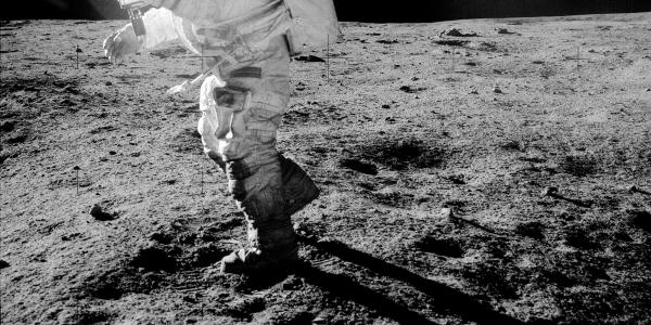 Dust sticks to the boots of Apollo 14 astronaut Edgar Mitchell in 1971.