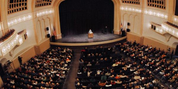 Speaker at Macky Auditorium