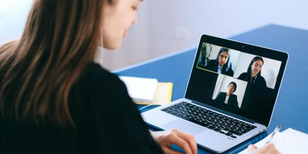 person engaging with employers via Zoom during a virtual career fair