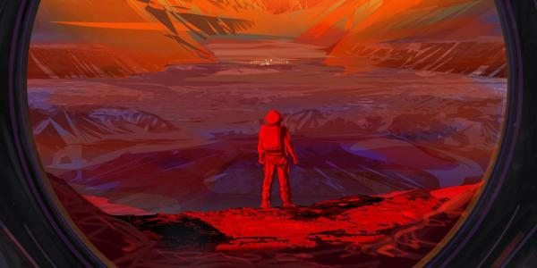 Artist's depiction of astronaut standing on the surface of Mars